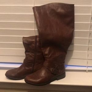Brown wide calf riding boots